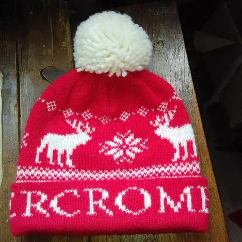 f2f9f13a7cc wholesale custom Christmas deer red knitted hat with pom pom from worldlink  caps and clothing co.