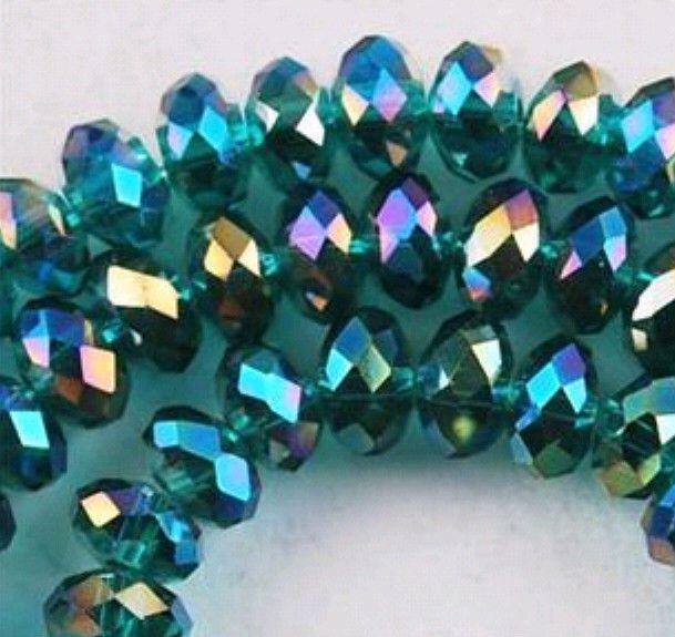 100pcs Peacock Green Swarovski Crystal Loose Bead 4x6mm