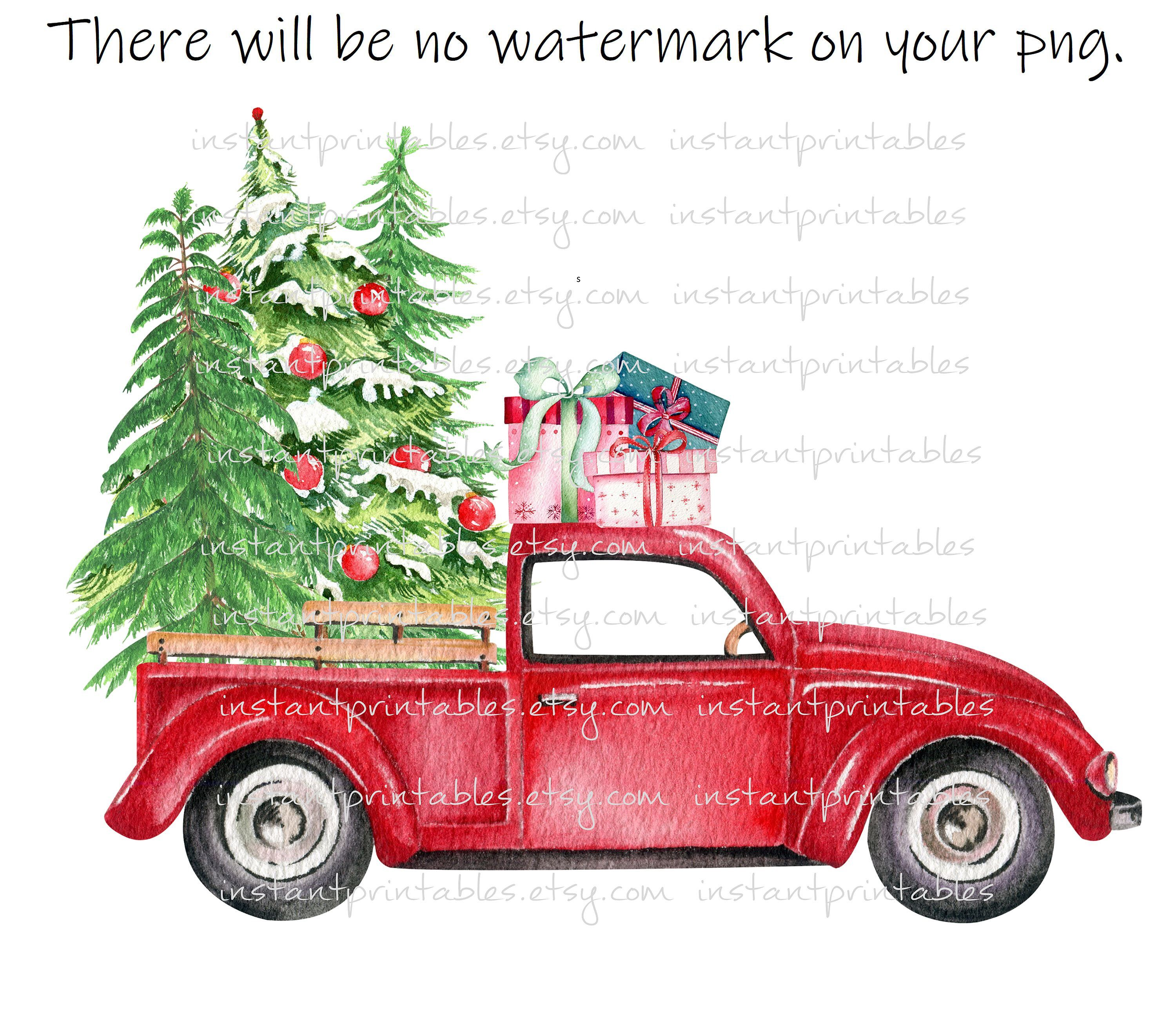 Sale Red Truck Png Christmas For Sublimation Transparent Iron Etsy Red Truck Vintage Christmas Christmas Tree With Presents