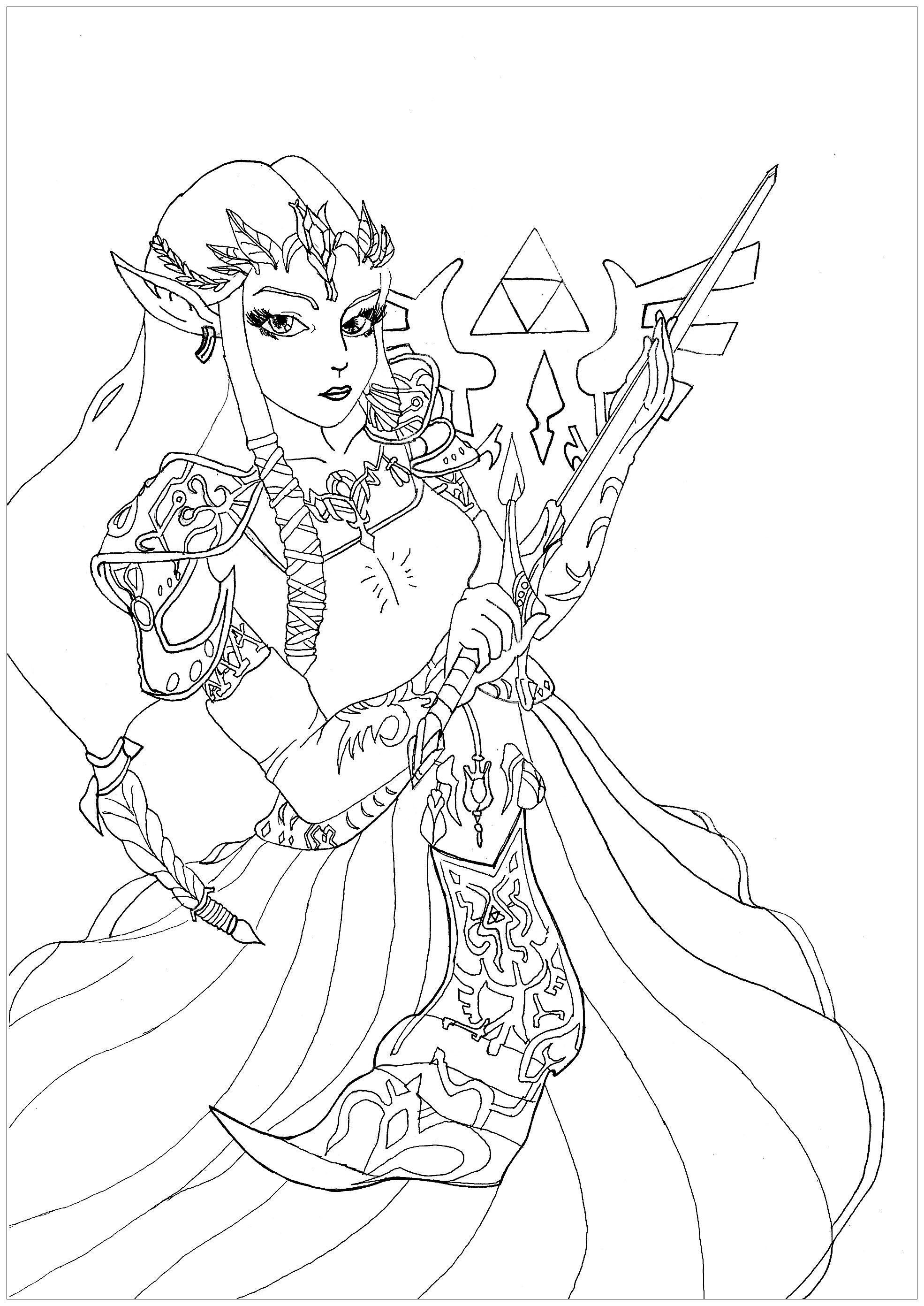 Coloring Page Of The Princess Zelda From The Video Game Twilight