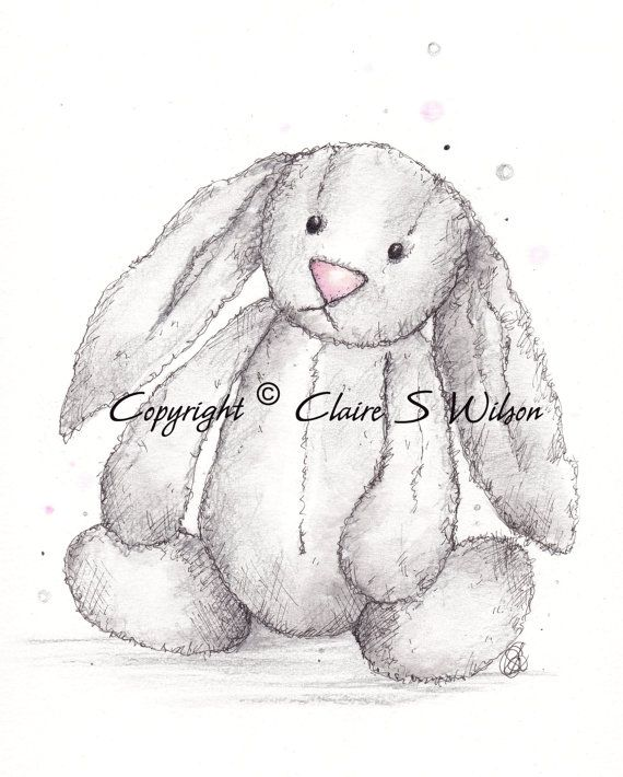 Jellycat Bashful Bunny Art Print 8x10 By Claireswilson On Etsy Bunny Watercolor Bunny Sketches Bunny Drawing