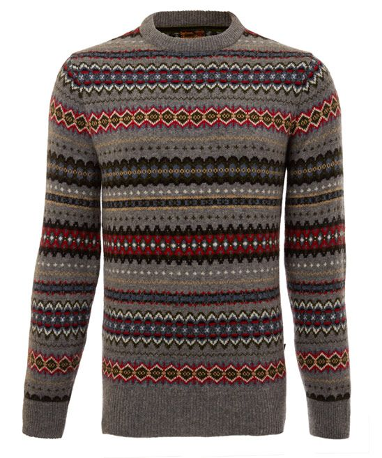 Barbour Grey Caister Fair Isle Knit Jumper | ..:: COUNTRY CLUB ...