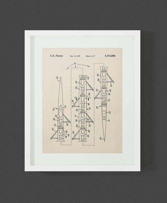 Rowing S 8 Man Scull Patent Art Print | Products | Rowing ...