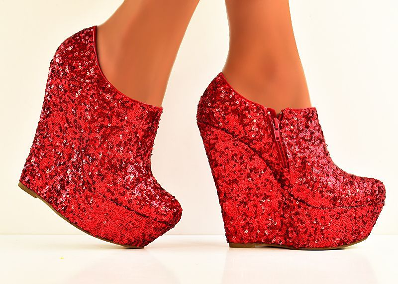 8e9da52c1461 gorgeous platform wedges | GORGEOUS RED SEQUIN SHIMMER GLITTER PLATFORM  WEDGE BOOTIES