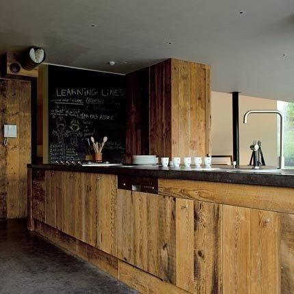 Panneau bois brut id es cuisine facade cuisine cuisine bois et meuble cuisine bois - Facade cuisine bois brut ...