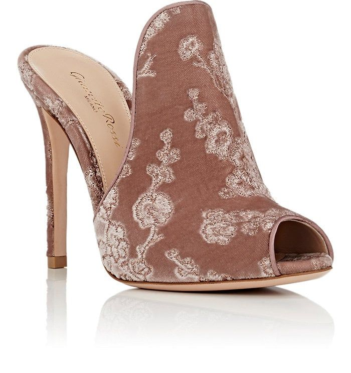 Gianvito Rossi Embroidered Velvet Mules in ,Floral.