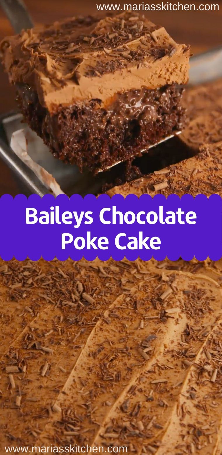 Baileys Chocolate Poke Cake Recipe - This Baileys Poke Cake is made with a moist Baileys chocolate cake soaked in more chocolate and Baileys Irish Cream!