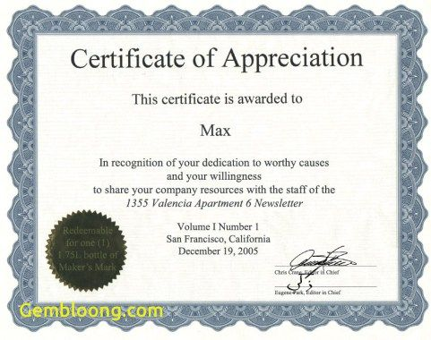fresh 6 best images of sample appreciation certificates best employee award certificate templates - Appreciation Certificate Template For Employee