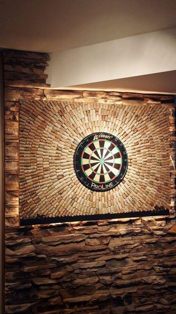 Photo of Wine corks dartboard set for man cave or garage workshop. # Man …