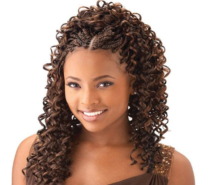 cornrow with curly weave
