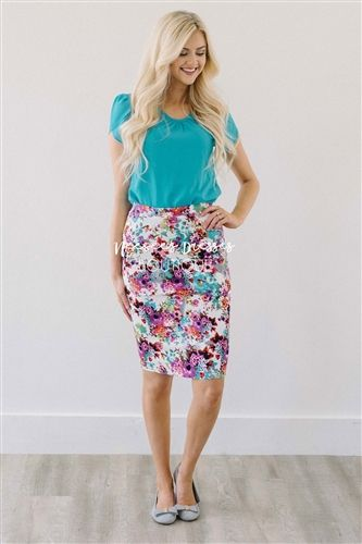 bbe67f7c3f The colors are so vibrant and beautiful, perfect for pairing with a variety  of colors of tops. White pencil style skirt features teal, ...