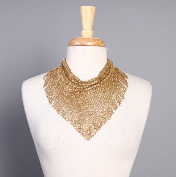 Matte Gold Lace Metal Choker Necklace
