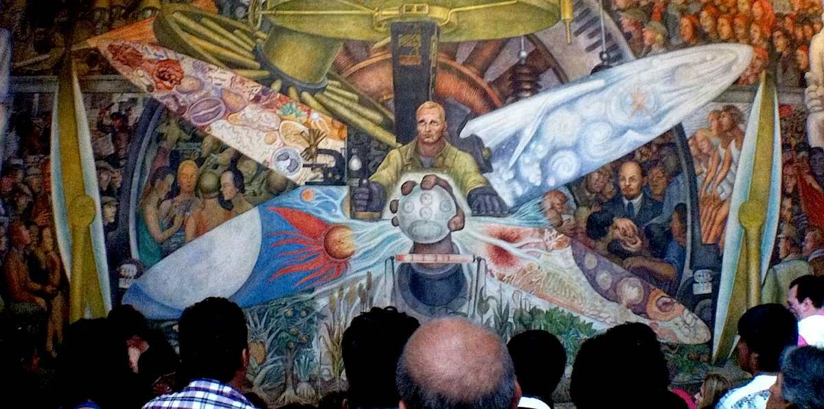 Man at the crossroads by diego rivera famous paintings and for Diego rivera rockefeller mural