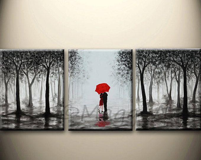 Original abstract painting,red umbrella, home decor, walking in rain ...