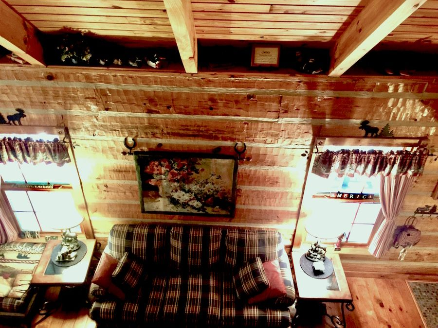 Living room of Southland Log home in Asheville Nc. Now