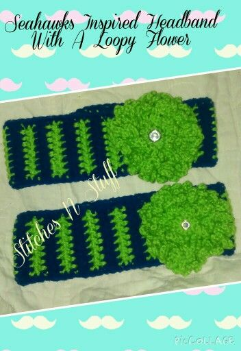 Crochet Seahawks Inspired Headbands W/ Loopy Flower $8 (available in other colors) Http://www.facebook.com/StitchesNStuffOR