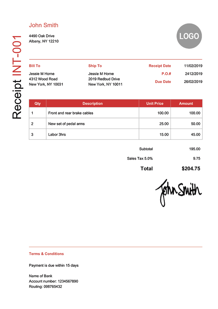 Receipt Template En Modern Red Receipt Template Invoice Template Quote Template