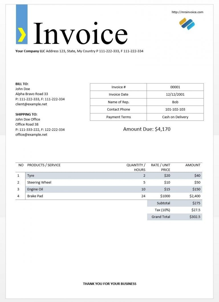 what to write on invoice