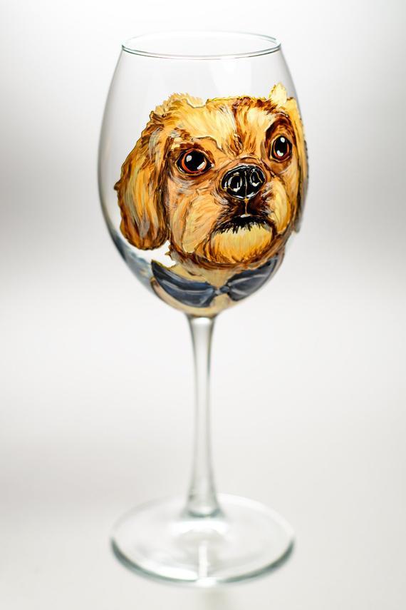 d8c3b907314 Custom Pet Wine Glass Personalized Dog Loss Gift Custom Dog Wine Glass Dog  Sympathy Gift Dog Portra