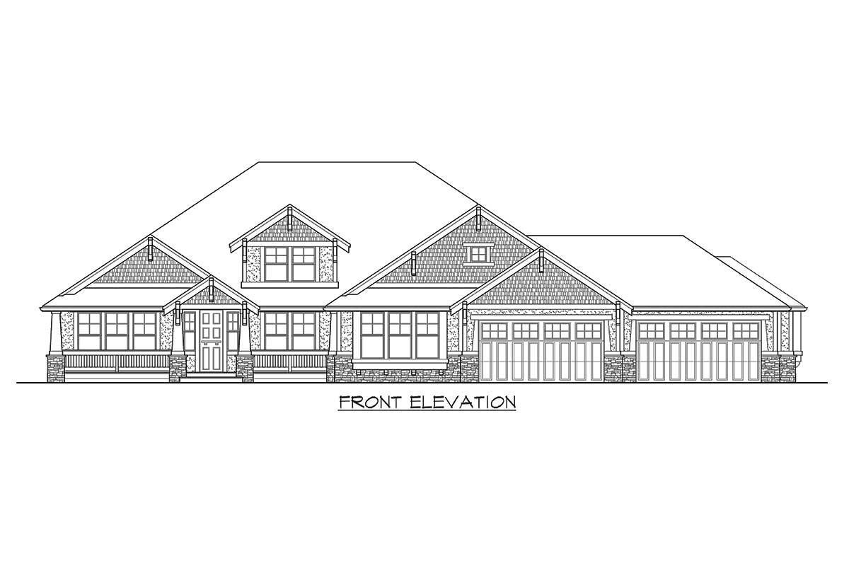 Plan 23320JD: Modern Rambler with Upstairs Bonus Room ... on house with walk in pantry, house with man cave, house with sprinkler system, house with breakfast bar, house with open floor plan, house with stainless steel appliances, house with guest house, house with partial basement, house with brick, house with rv parking, house with sleeping porch, house with screen porch, house with open staircase, house with central air, house with wraparound porch, house with patio, house with storm cellar, house with mezzanine floor, house with master suite,