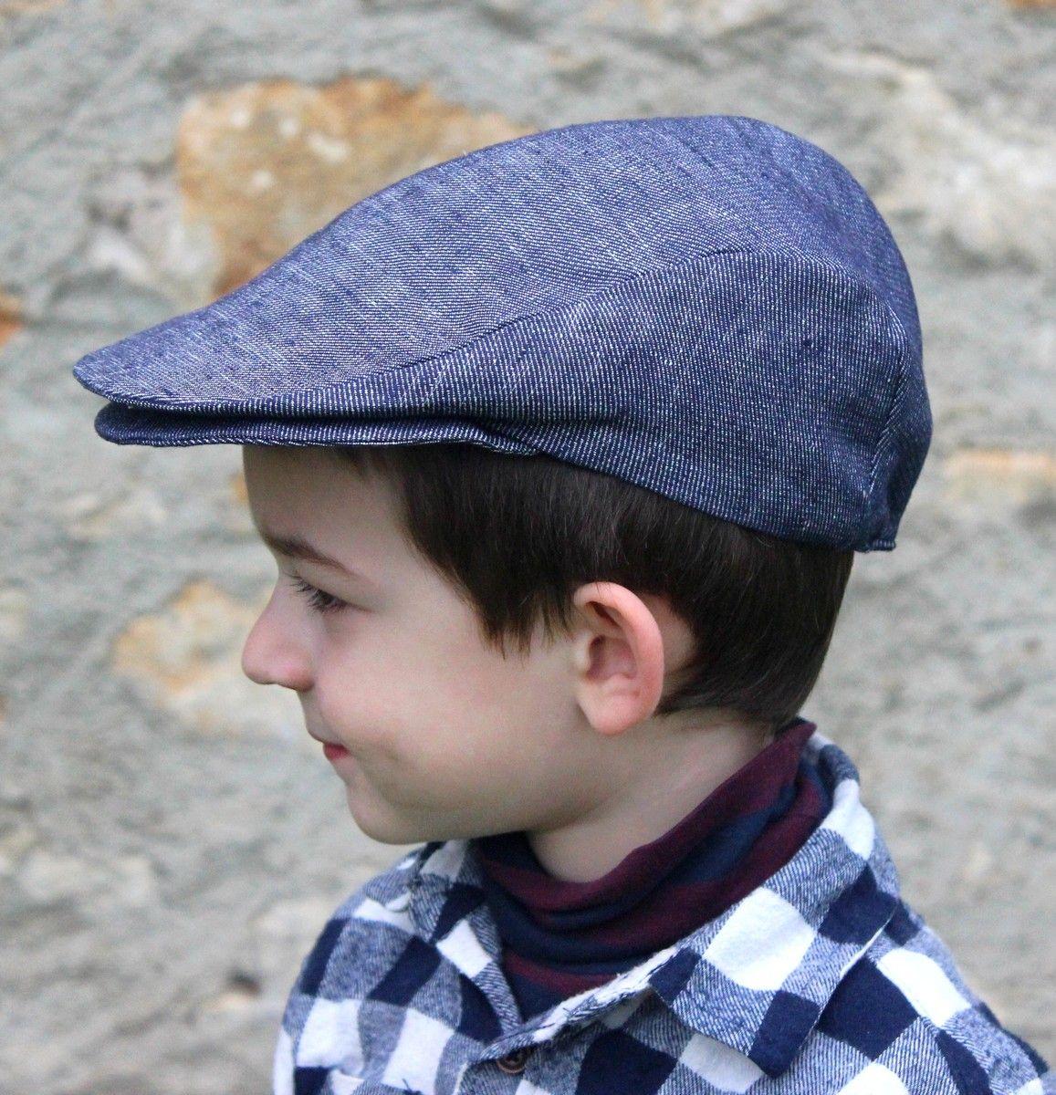 2b4b183281f3 Kids beret Cap newsboy style, denim dark blue denim, head ...