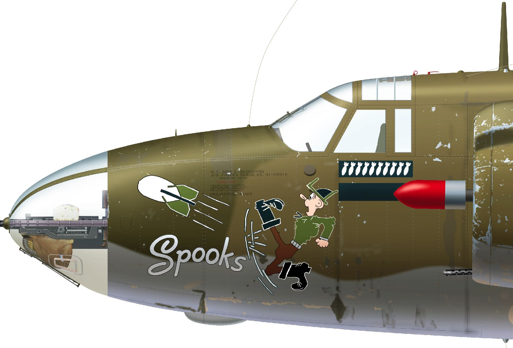 B-26C-20-MO s/n 41-35018 B/N 32 'Spooks' flown by Lt. Chester M. Angell of the 37th BS, 17th BG