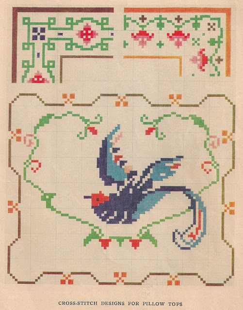 Sentimental Baby: Free Vintage Colored Cross Stitch Pattern cross stitch pattern vintage free borders with corner designs floral abstract bird