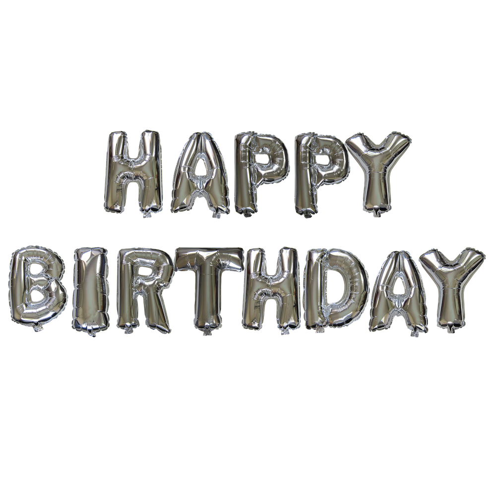 14 inch Alphabet Balloons Set (Happy Birthday - Silver ...