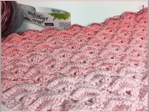 Tuch Reliefmuscheln Häkeln aus 1 Woolly Hugs BOBBEL - Veronika Hug ...