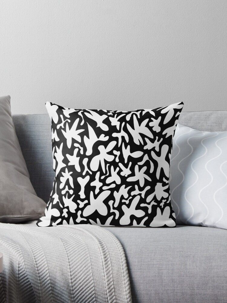 Funny whimsical fanciful white shapes on the black background. Black and white stylish retro design. Throw Pillow