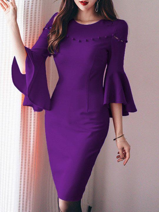 4ee2ace082c9 Round Neck Plain Bodycon Dress - berrylook.com