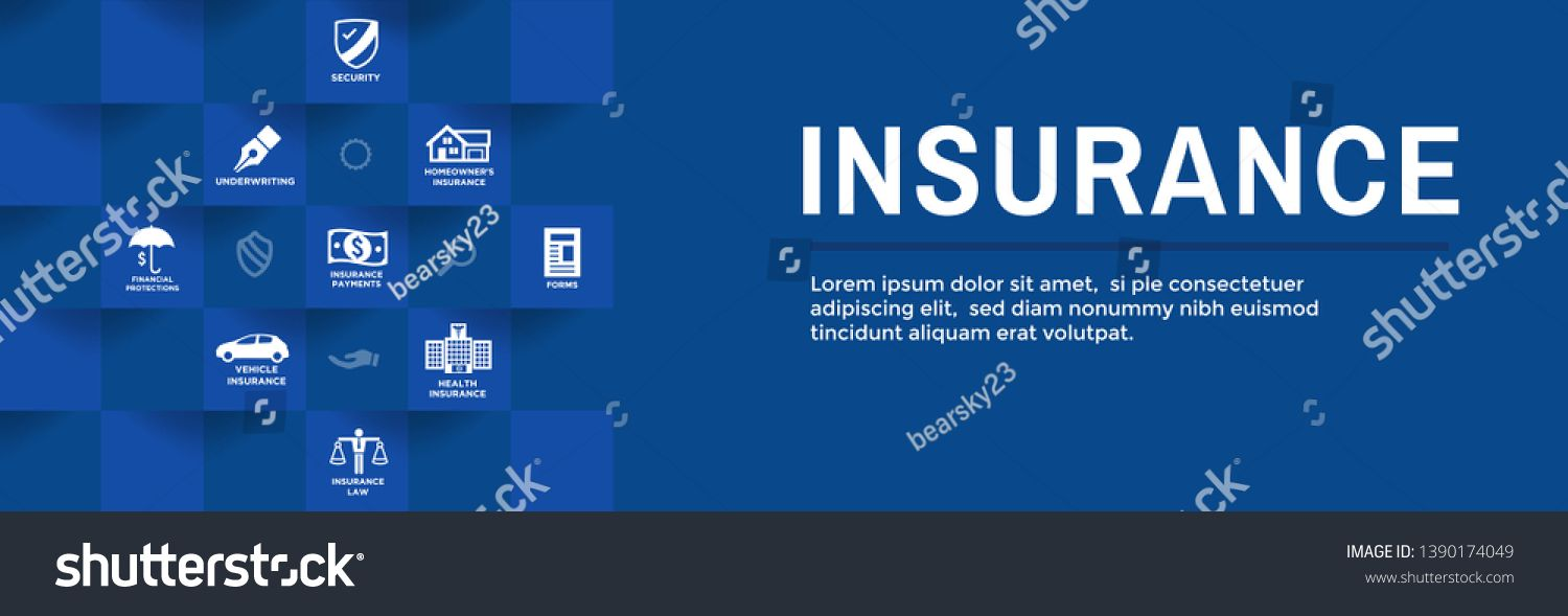 Insurance Web Header Banner With Homeowners Medical Life And