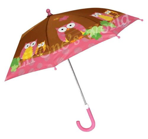 "Stephen Joseph Owl Girls Children's Pink Brown Umbrella 22""x 27"" New"