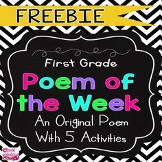POETRY {POEM OF THE WEEK} for First Grade FREEThis poem of the week FREE set is a part of a GROWING BUNDLE resource for the whole year! There are currently 5 months and as each new month is added you will get those for free when you purchase now! This growing bundle will include 10 months.