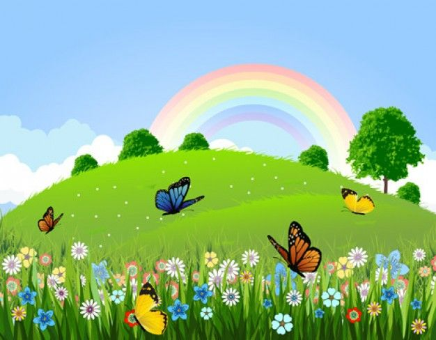 Here you will get Nature green landscape with butterfly rainbow graphic illustration graphics art work.