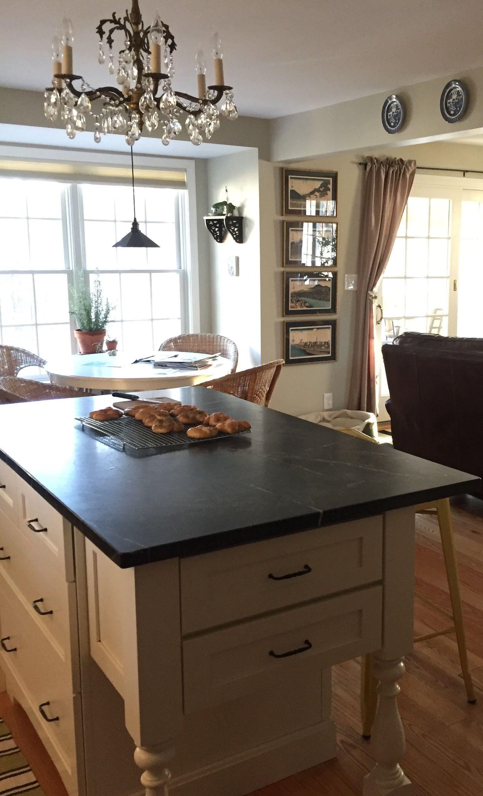 Kitchen soapstone benjamin moore hazy skies on walls benjamin moore simply white on trim durasupreme cabinets chandelier