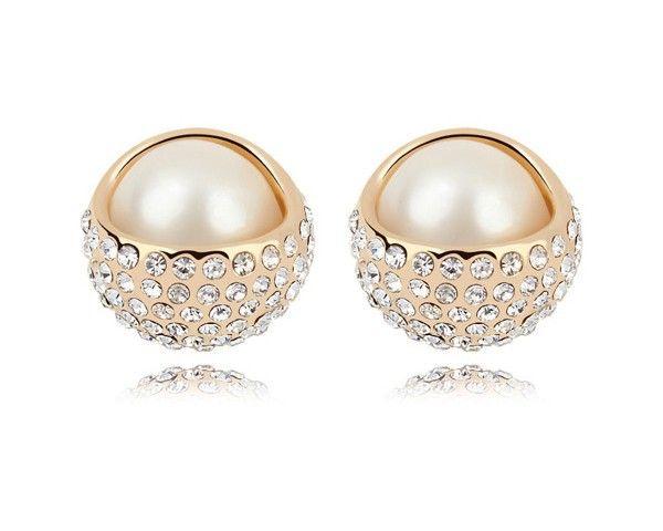 Gold Stud Earrings   Pearl and Gold Stud Earrings for women-min-order-10-font-b-pearl-b ...