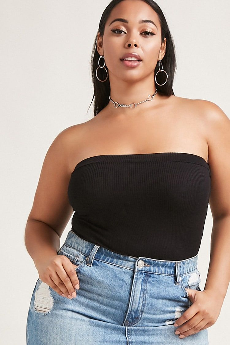 72d4d410df Forever 21+ - A soft ribbed knit tube top featuring an elasticized  neckline