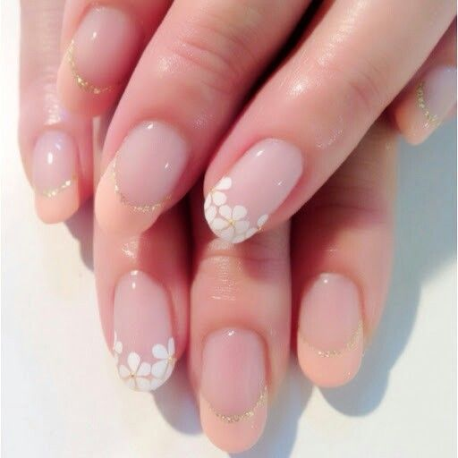 Peach and white flower french tips great for wedding nails nails peach and white flower french tips great for wedding nails mightylinksfo