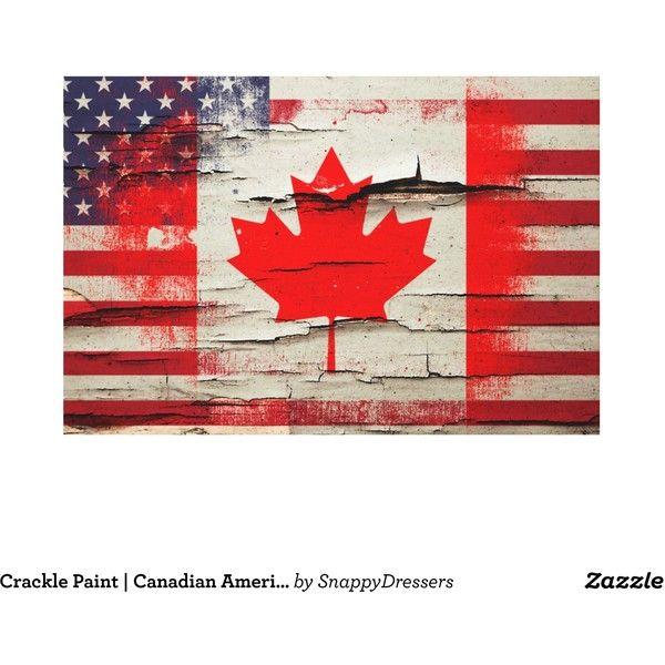 Crackle Paint Canadian American Flag Canvas Print (165 CAD