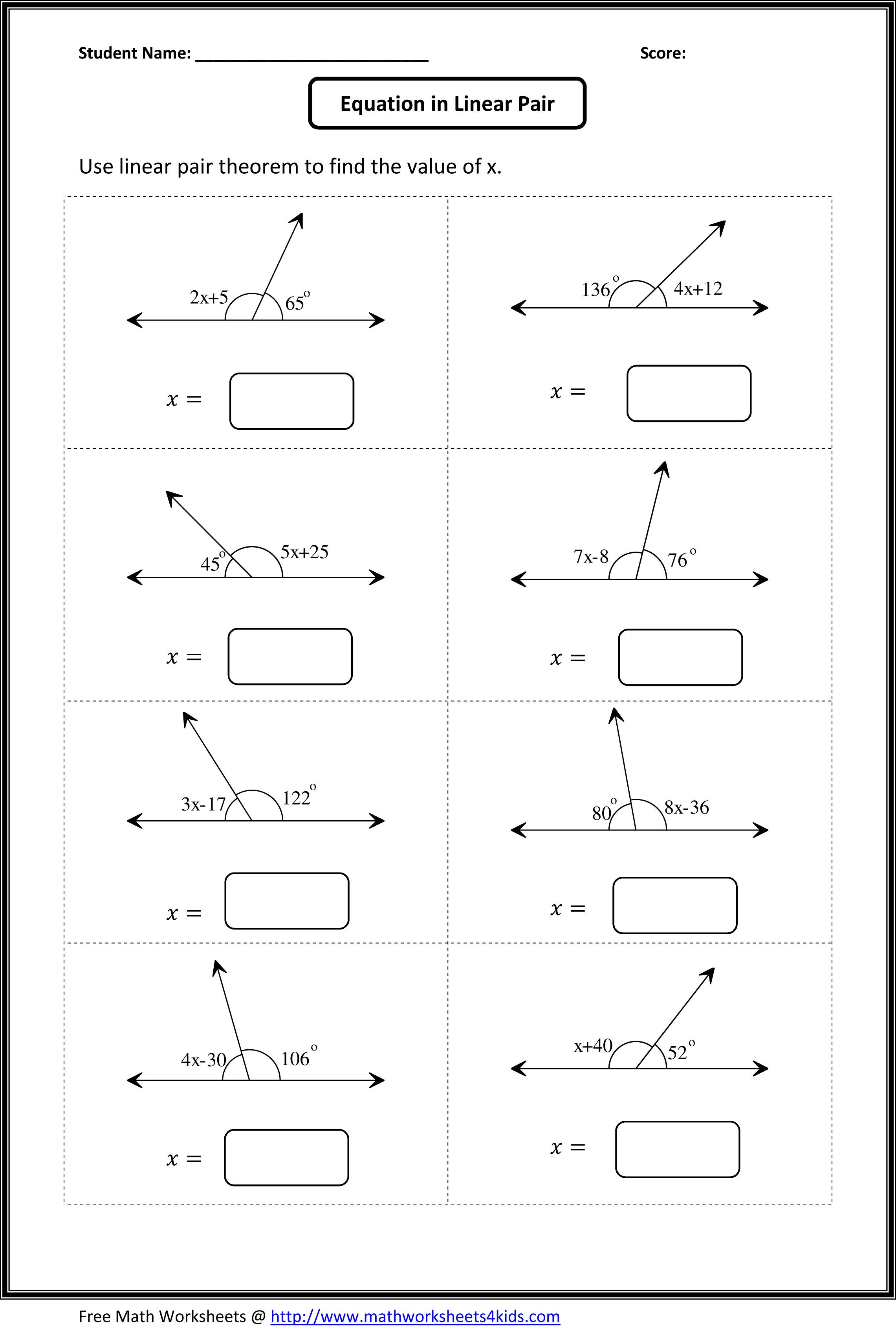Angles Worksheets Geometry Worksheets Angles Worksheet Math