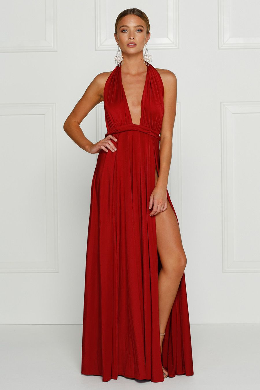 Alamour The Label CATALINA Wine Red Wrap Tie Formal Gown Dress | One ...