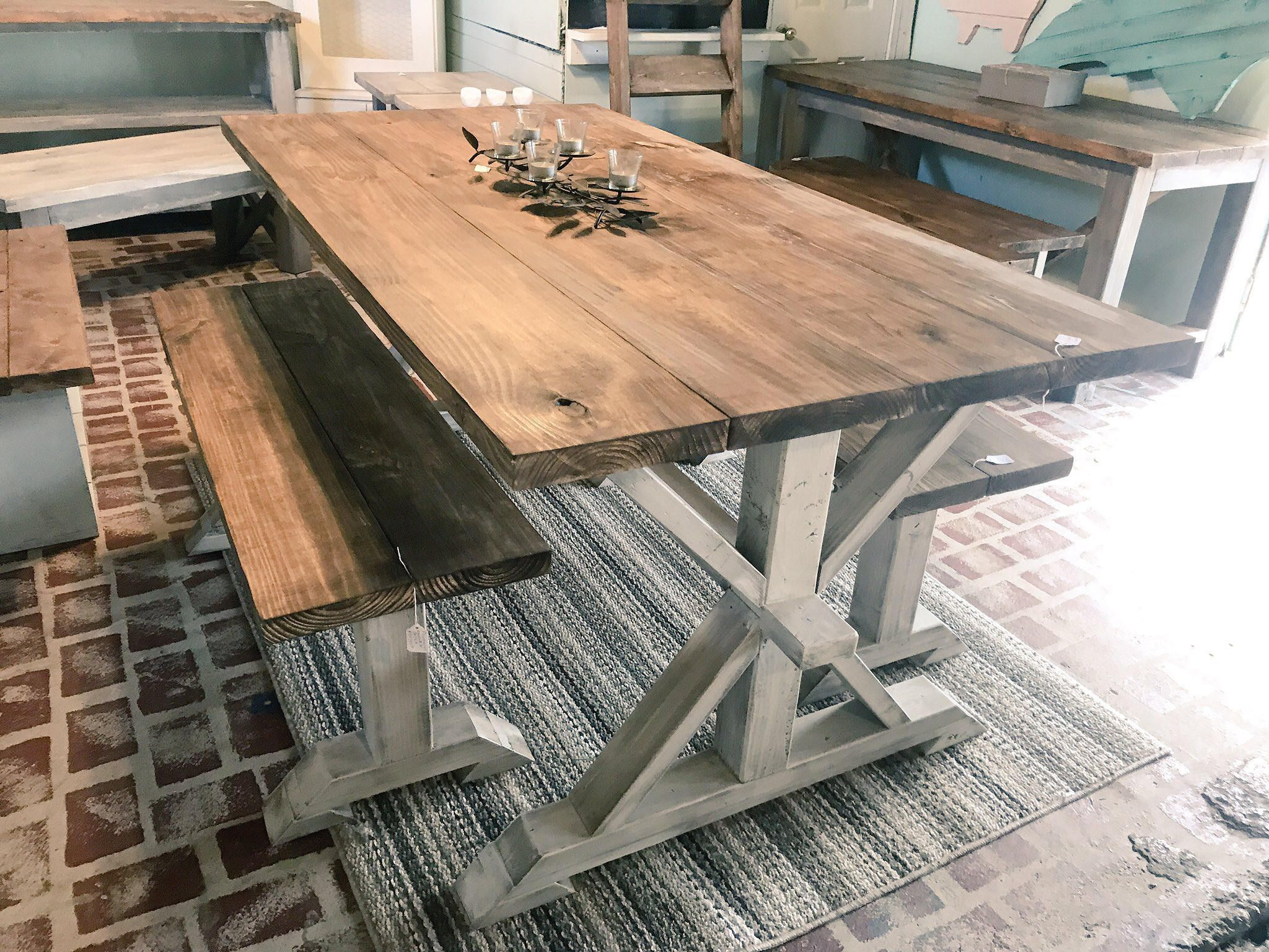 Rustic Pedestal Farmhouse Table With Benches Provincial Brown With White Distressed Base Di Farmhouse Kitchen Tables Rustic Farmhouse Table Kitchen Table Bench