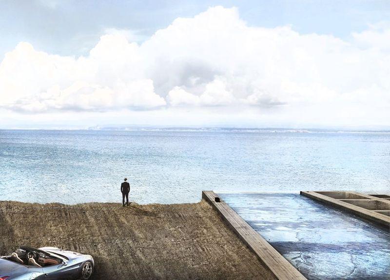 Incroyable concept de maison parfaitement intégrée à une falaise grecque - maison toit en verre
