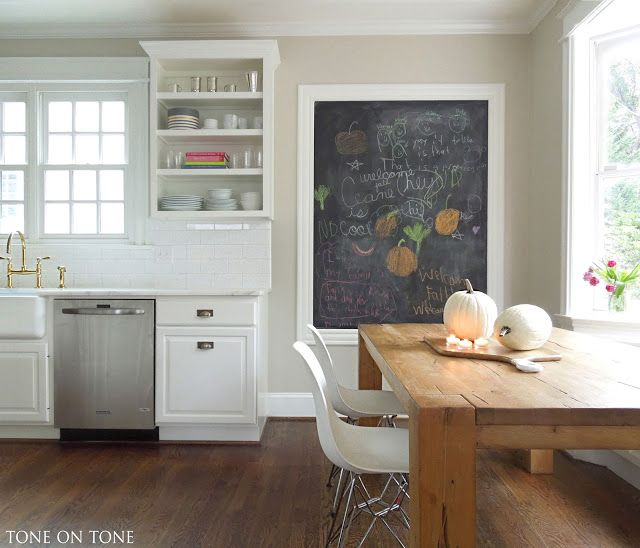 A DIY Chalkboard | Grey kitchen walls, Chalk paint kitchen ...