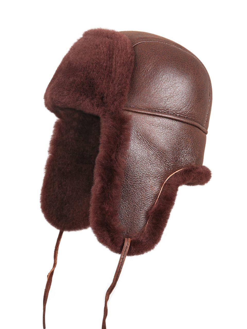 Zavelio Shearling Sheepskin Aviator Fur Hat - Brick Color f65baf903f8a