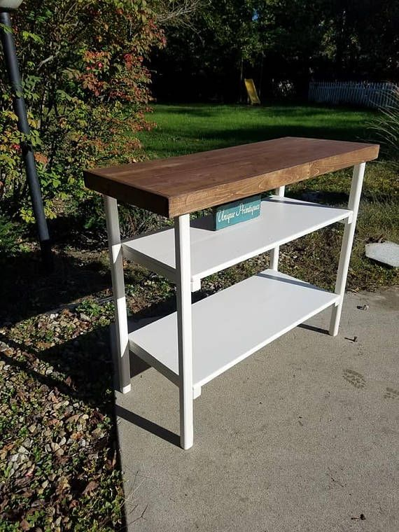 Rustic EXTRA WIDE CONSOLE Sofa Table Kitchen Island Book Shelf
