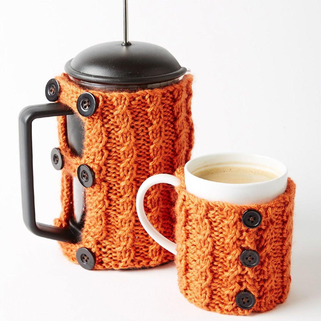 Free knitting pattern caron coffee press and mug cozies