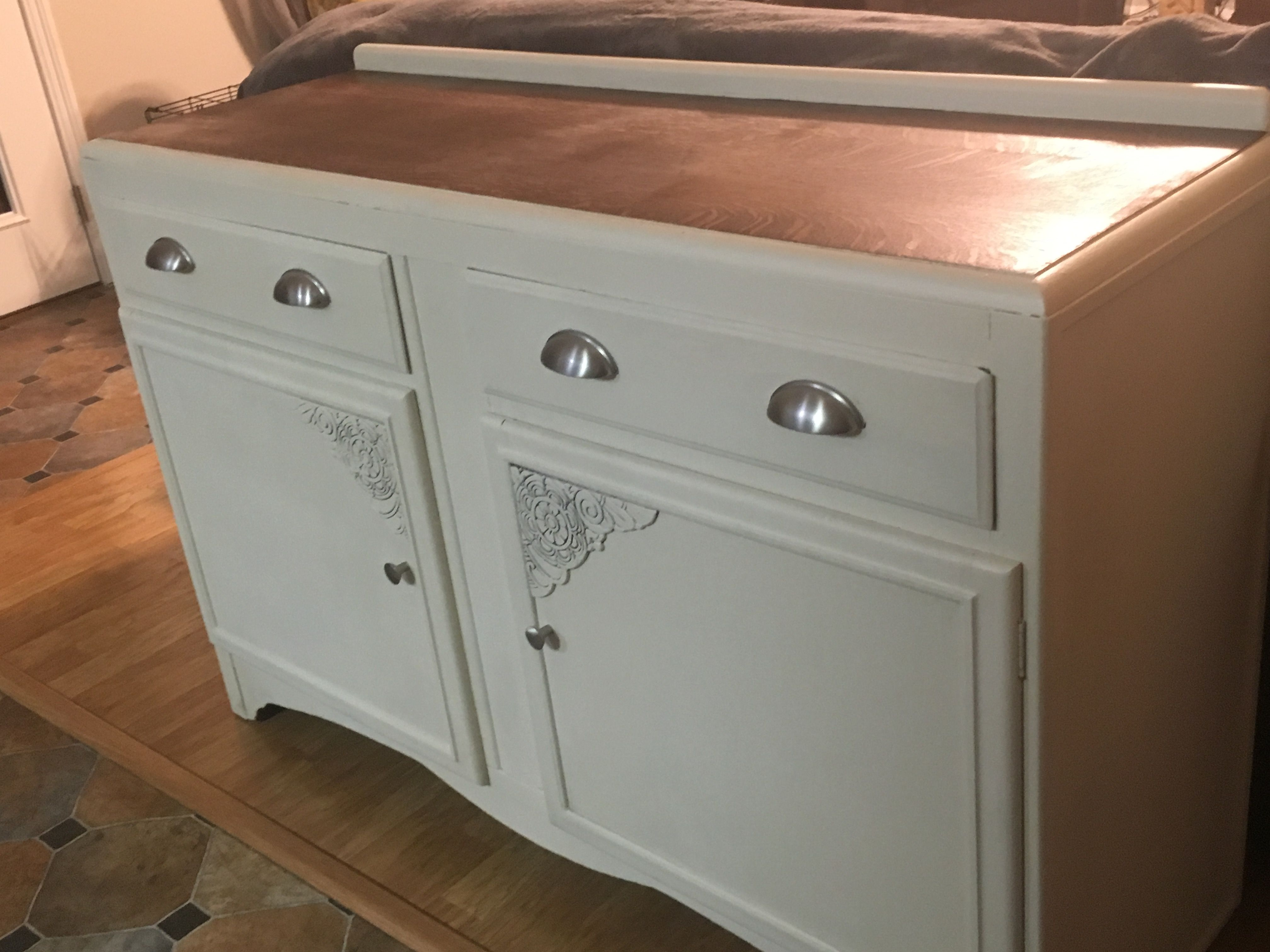 Buffet rehab. Picked up this buffet for free and after some repairs to the top and a good stain on top and chalk paint on the rest it looks great.