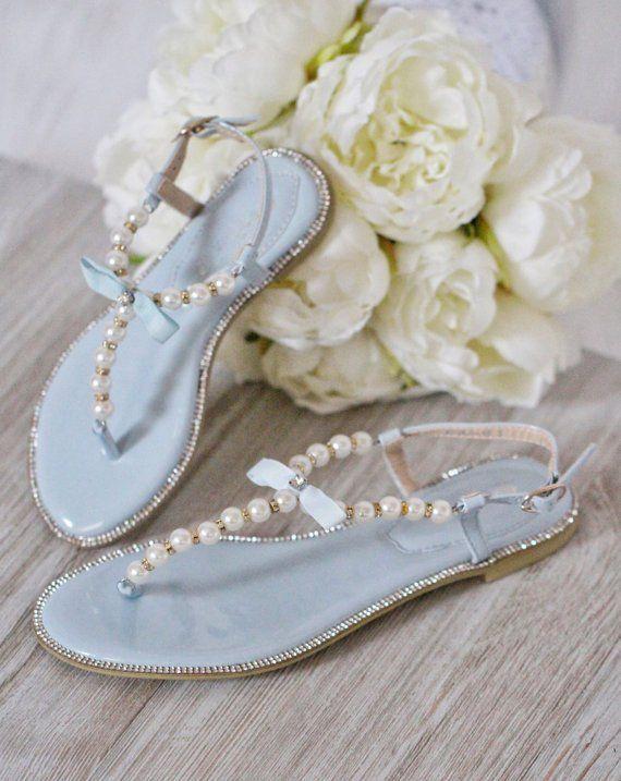 Girls Pearl Flat Sandals Light Blue Pearls Rhinestones T Strap Embellished Flat Sandals Pearl Sandals Flower Girl Shoes Embellished Flats
